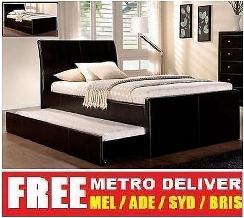 Lecca King Single Size W Trundle Bed Black White Brown Pu