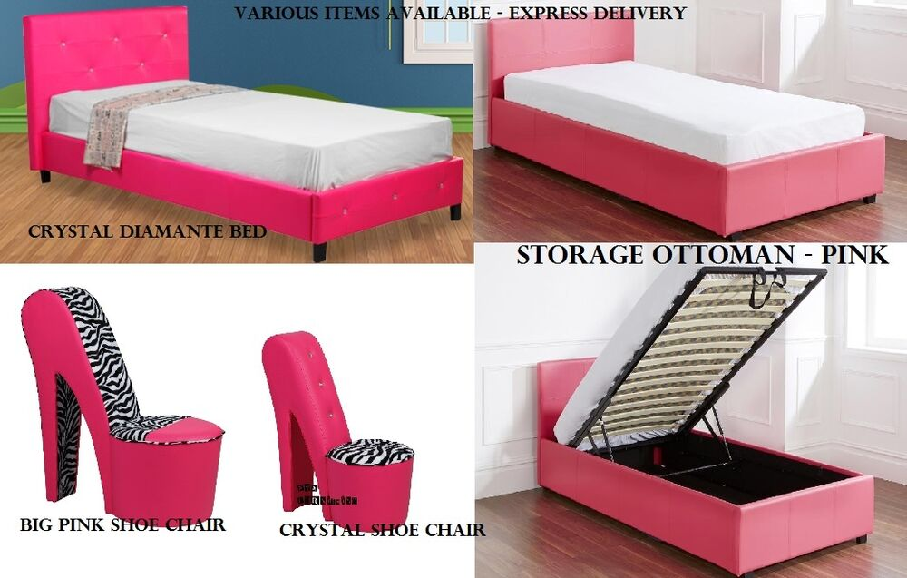 Girls Hot Funky Pink Bedroom Furniture Ottoman Storage Diamond Beds Shoe Chairs Ebay