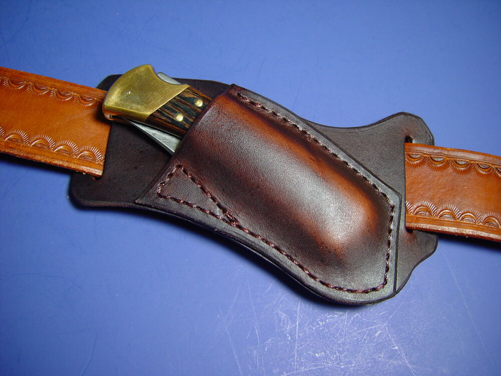 Leather Right Cross draw Pocket Knife Sheath for a Buck ...