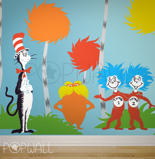 Children wall decals wall sticker dr seuss characters for Dr seuss wall mural