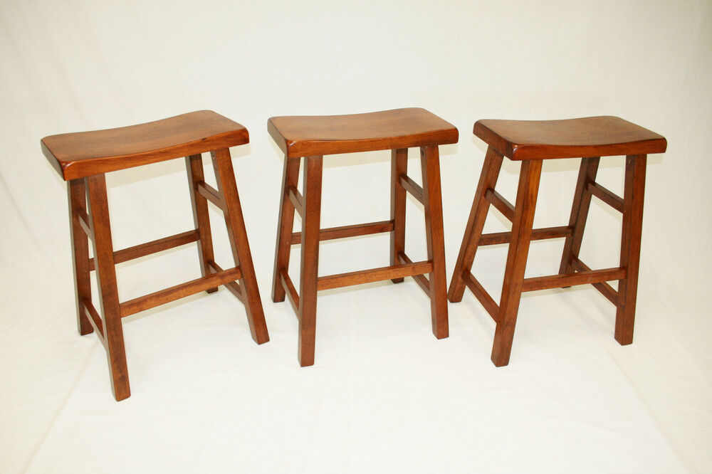 24 Quot Heavy Duty Saddle Seat Barstool Set Of 3 Ebay
