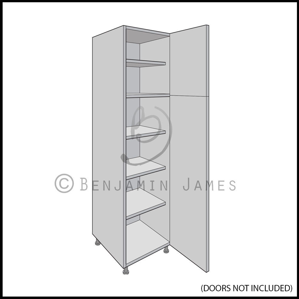 Kitchen carcass unit tall larder cabinet 2150 high for Black kitchen carcasses