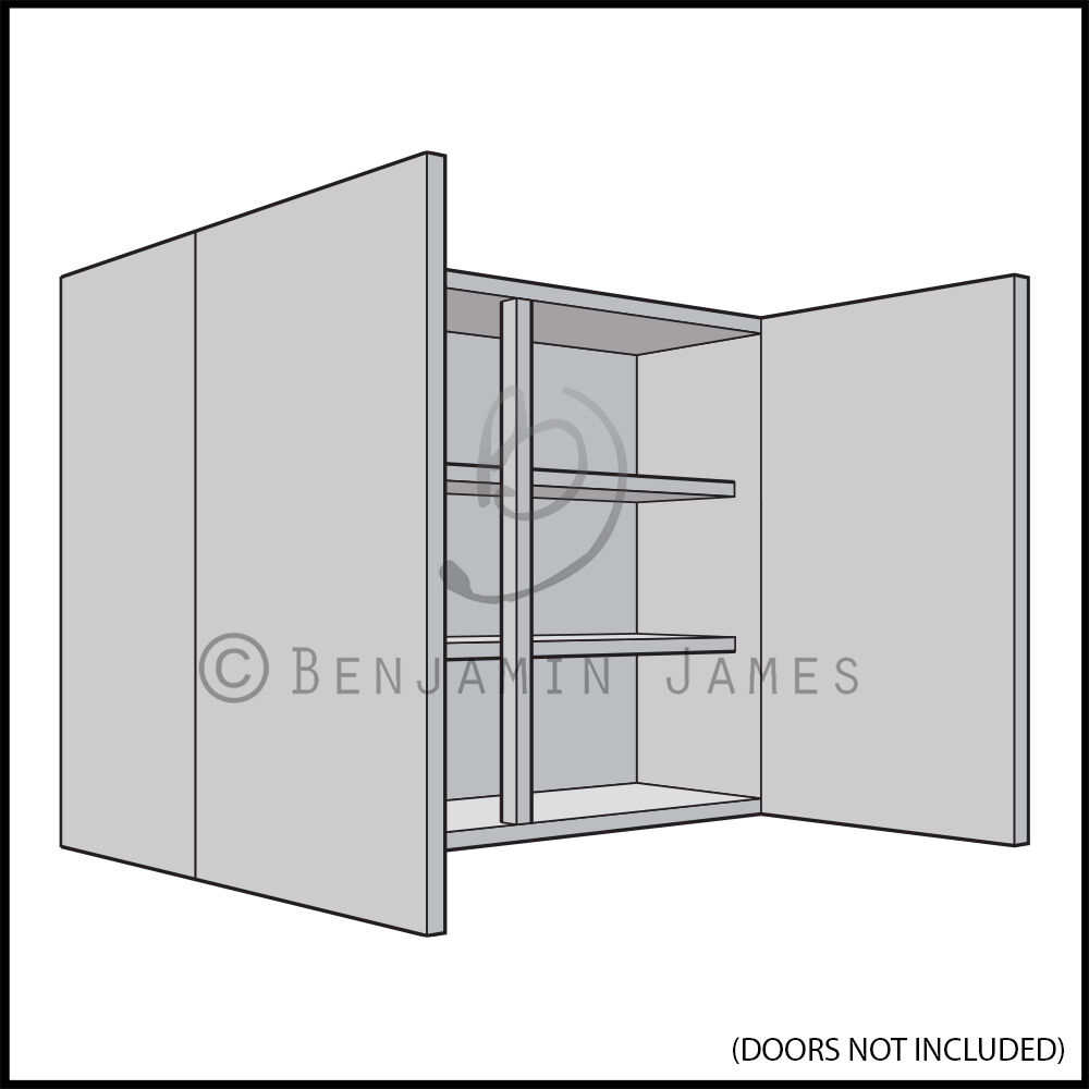 Kitchen Carcass Unit Double Wall Cabinet 720mm High 18mm Back
