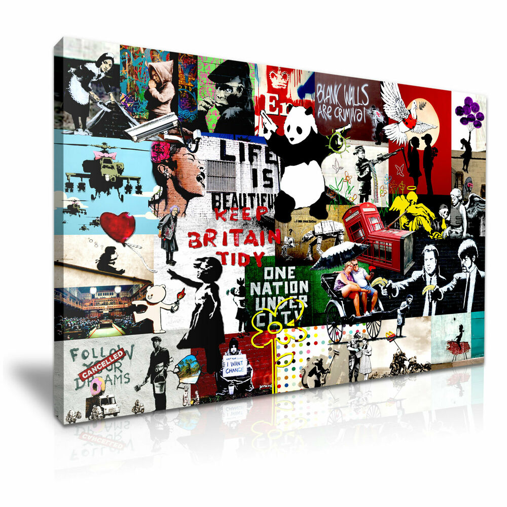 Banksy Collage Montage New Modern Graffiti Art Canvas
