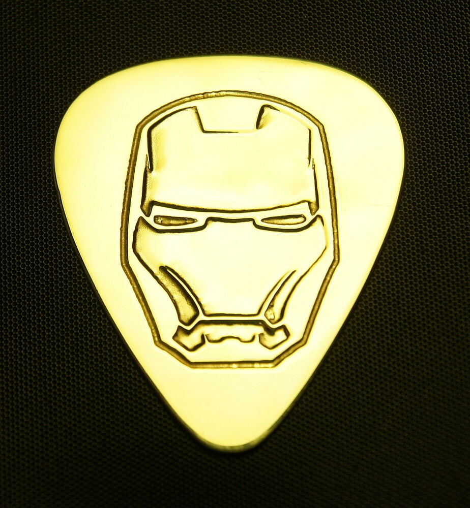 iron man solid brass guitar pick acoustic electric bass ebay. Black Bedroom Furniture Sets. Home Design Ideas