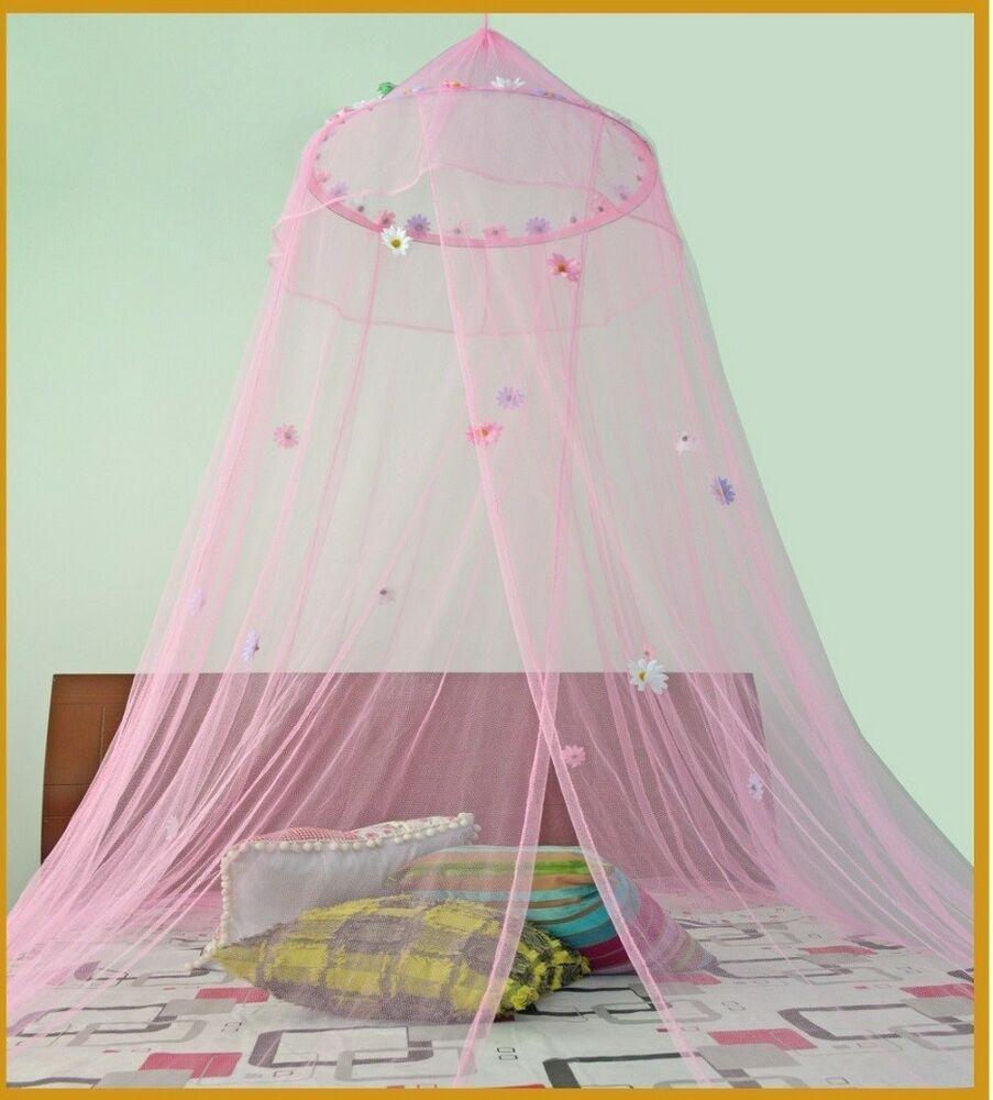Round hoop with daisies bed canopy mosquito net for crib for Baby crib net