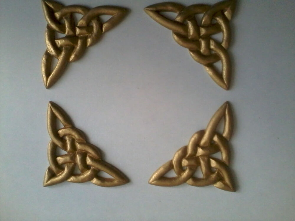 decorative resin moulding 4 celtic knot corners gold painted finish ebay. Black Bedroom Furniture Sets. Home Design Ideas