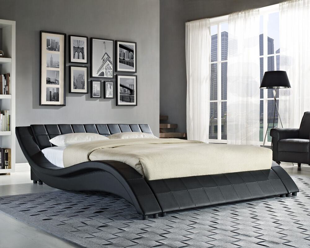 double king size black white bed frame and with memory foam mattress 4ft6 5ft ebay. Black Bedroom Furniture Sets. Home Design Ideas