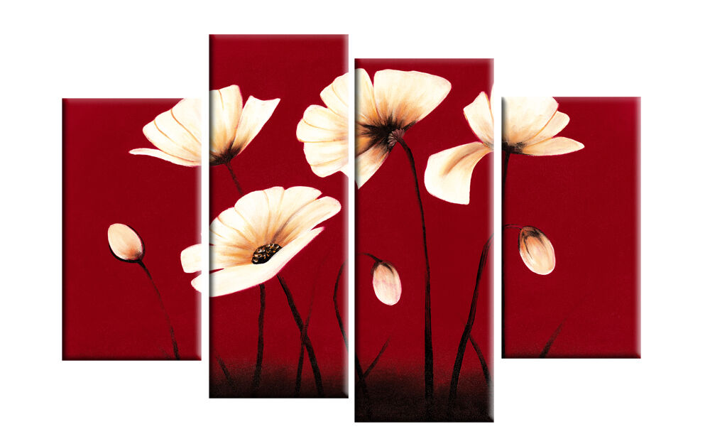 Red canvas cream flowers floral wall art split pictures 4 for Red wall art