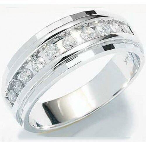 1 4ct Mens Wedding Anniversary Diamonds Ring Band 10k White Gold chennel set