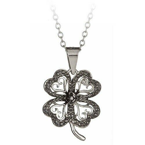 Sterling Silver Black Diamond Accent Four 4 Leaf Clover