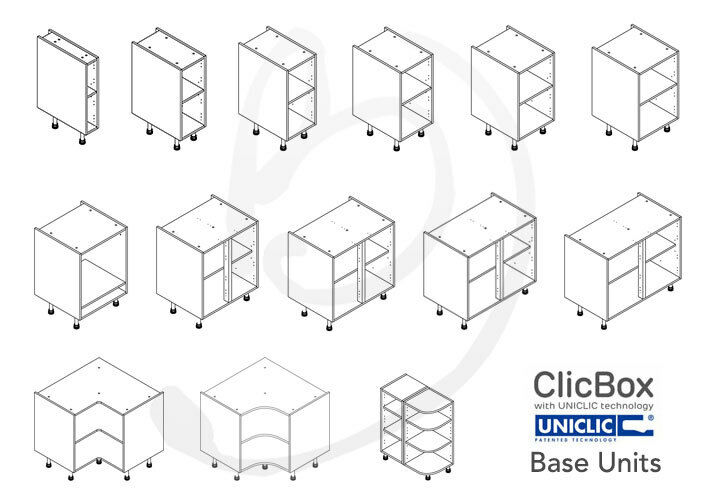 Kitchen carcass cabinet unit clicbox white base for Basic kitchen base units