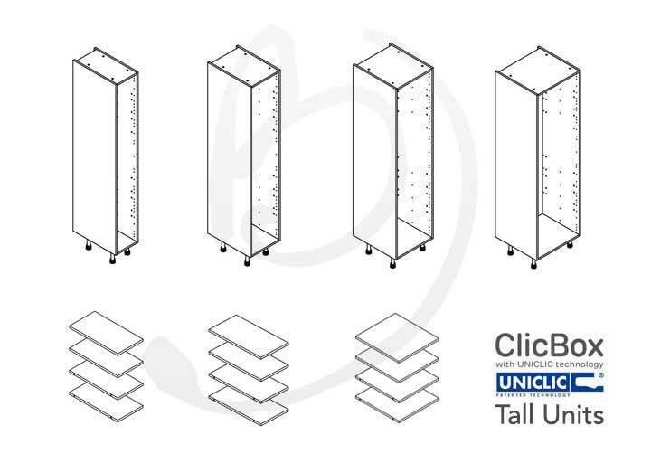 Kitchen Carcass Cabinet Unit - ClicBox - White - Tall ...