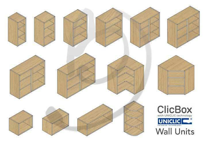 Kitchen Carcass Cabinet Unit Clicbox Oak Wall Units All Types Ebay