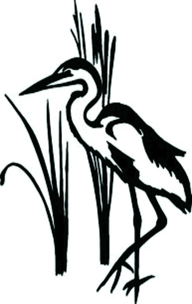 Crane Bird With Grass Vinyl Wall Decal Ebay