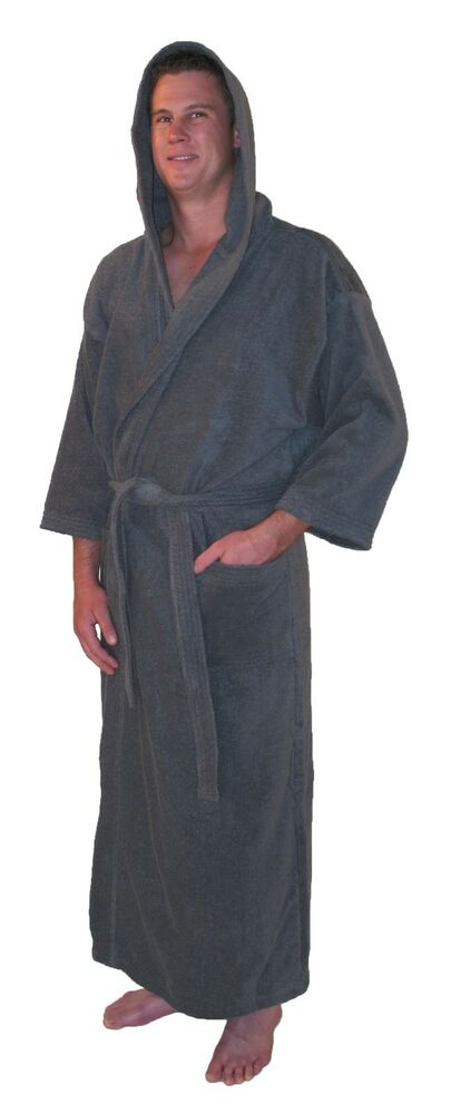 hooded bathrobe men 39 s full length light weight terry cloth the atlanta ebay. Black Bedroom Furniture Sets. Home Design Ideas