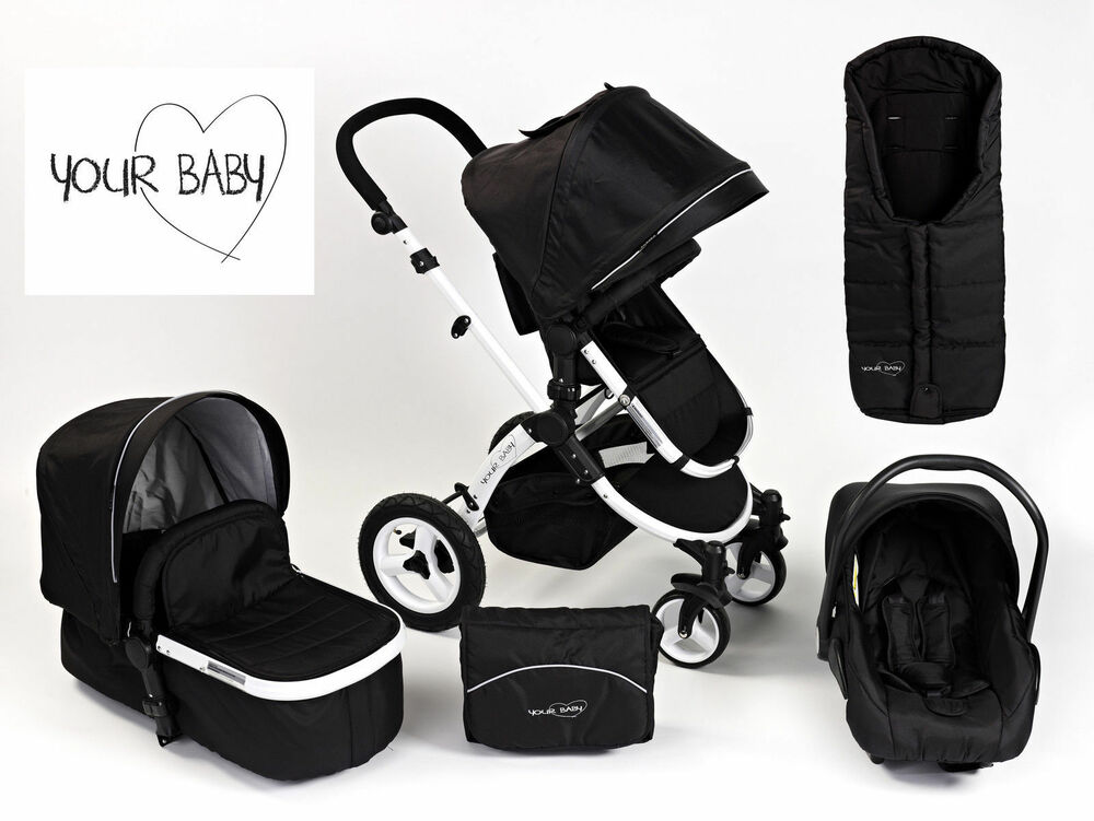 Your Baby Alaska Black 3 In 1 Pram Travel System Car Seat