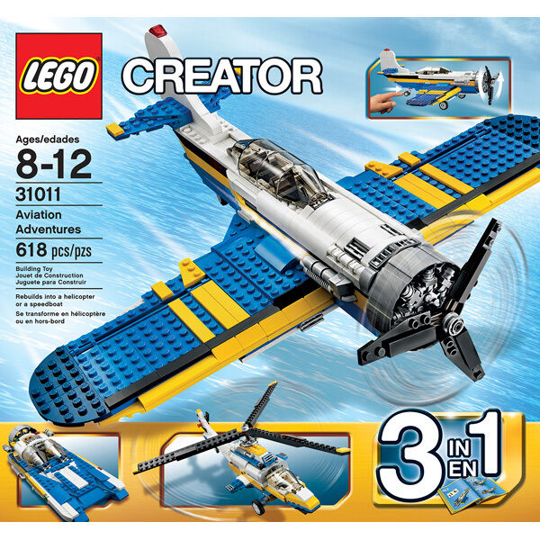 lego creator 31011 3 in 1 aviation adventures 618 pc. Black Bedroom Furniture Sets. Home Design Ideas
