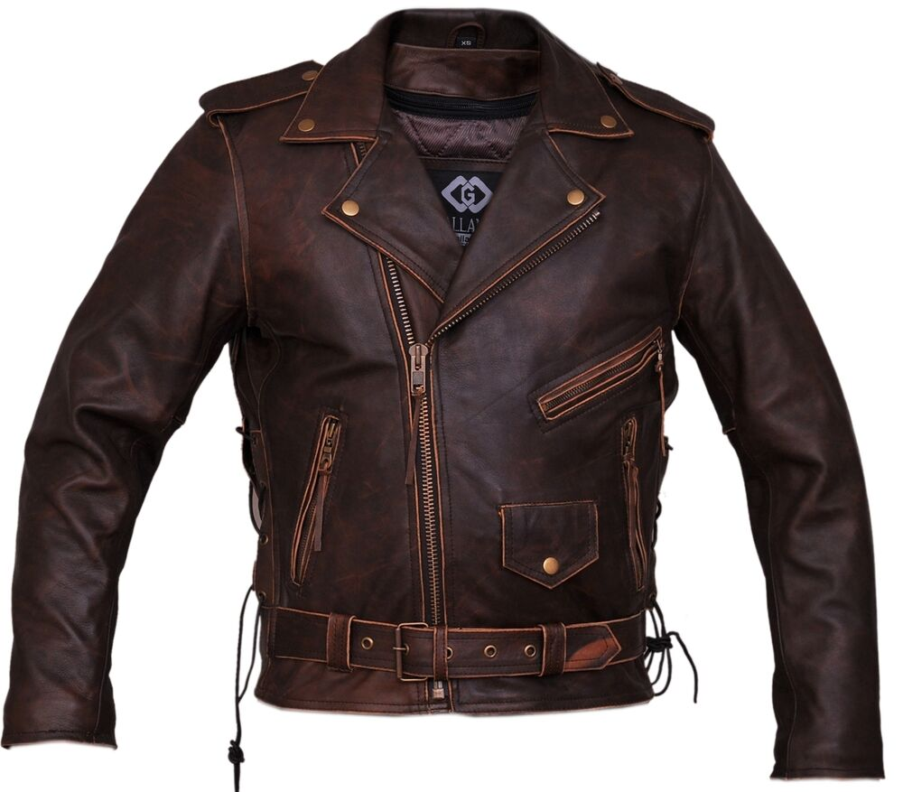 Mens Brown Distressed Leather Marlon Brando Biker ...