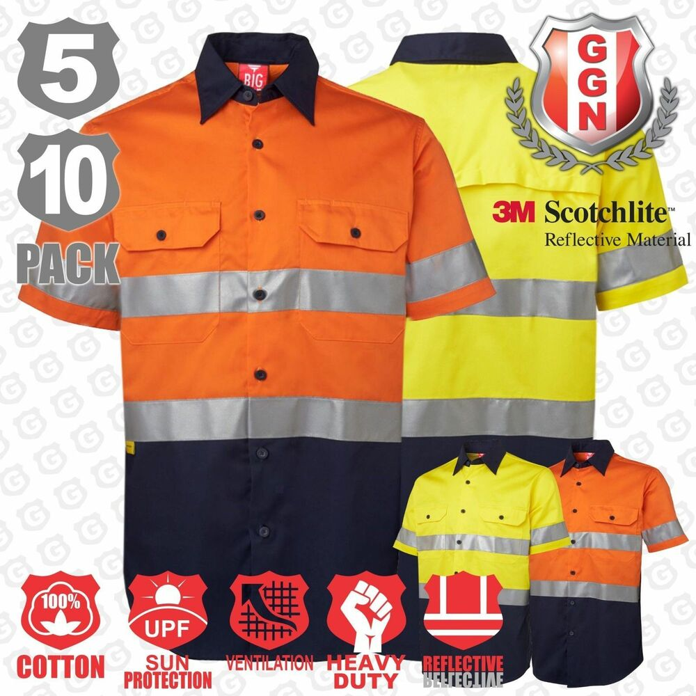 Work shirt hi vis safety cotton drill short 3m reflective for Hi vis shirts with reflective tape