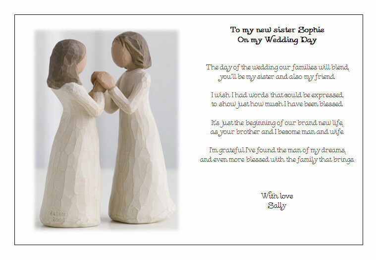 Wedding Gifts For Sister In Law: Personalised Wedding Day Poem Gift