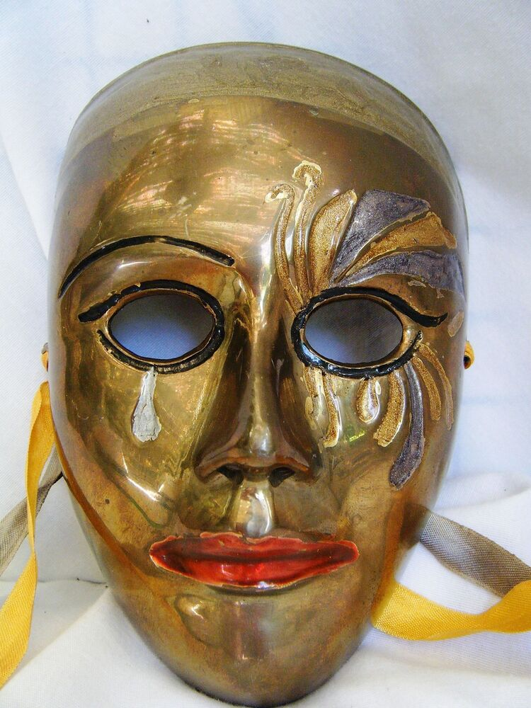 Decorative Wall Face Masks : Solid brass art face mask w tears and color bling wall