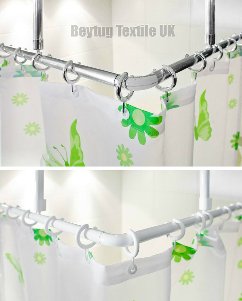 Corner Shower Curtain Rail/Rod, L Shape, 2 X Ceiling