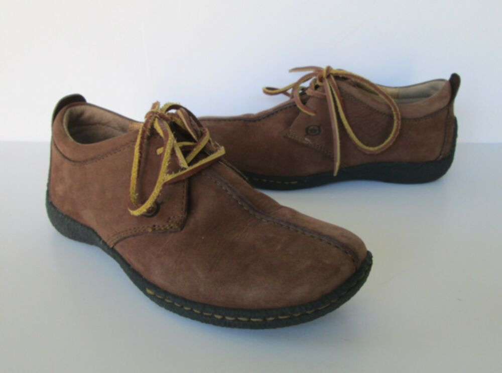 born womens brown nubuck suede leather tie oxford shoes us