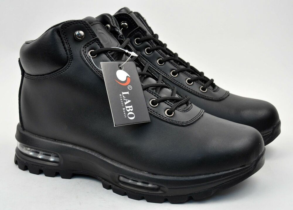 LABO Men's Black Hiking Winter Snow Boots Shoes Leather