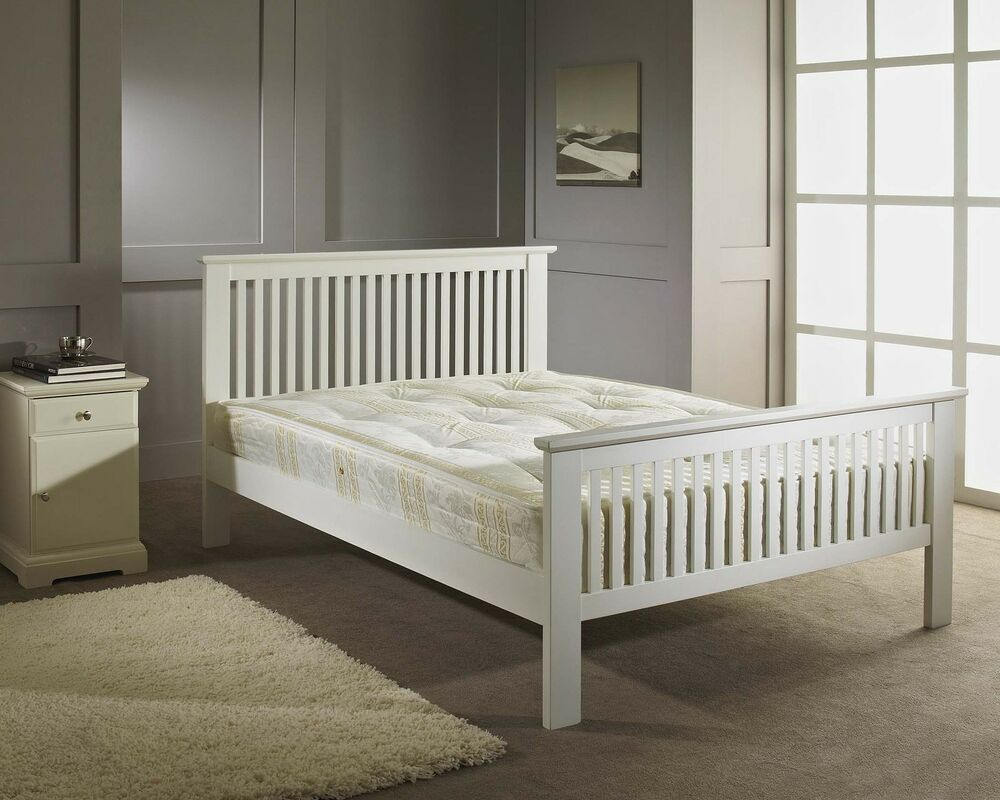 Double Bed Wood Frame 4ft6 White Shaker Wooden Bed Memory Foam Mattress Ebay
