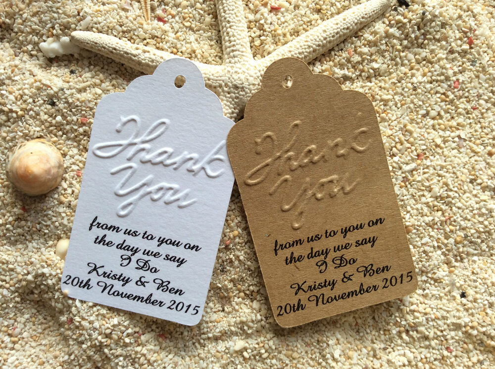 Wedding Bomboniere Gifts: 10 Brown Gift Tags Wedding Favour Personalised Thank You