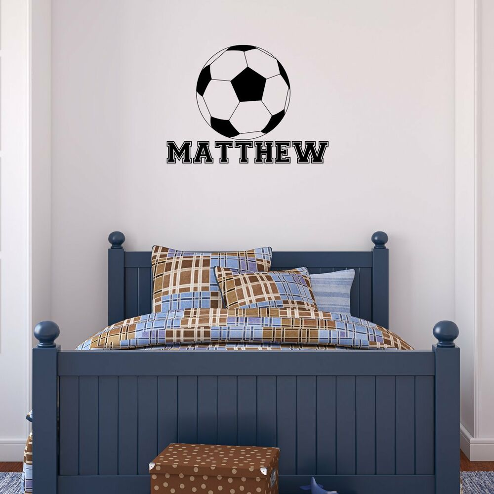 Personalized Name Soccer Ball Vinyl Wall Decal Sticker