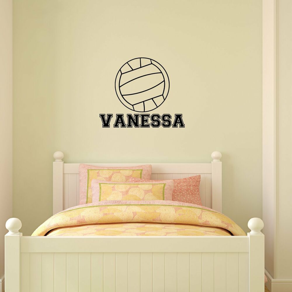 personalized name volleyball vinyl wall decal sticker. Black Bedroom Furniture Sets. Home Design Ideas