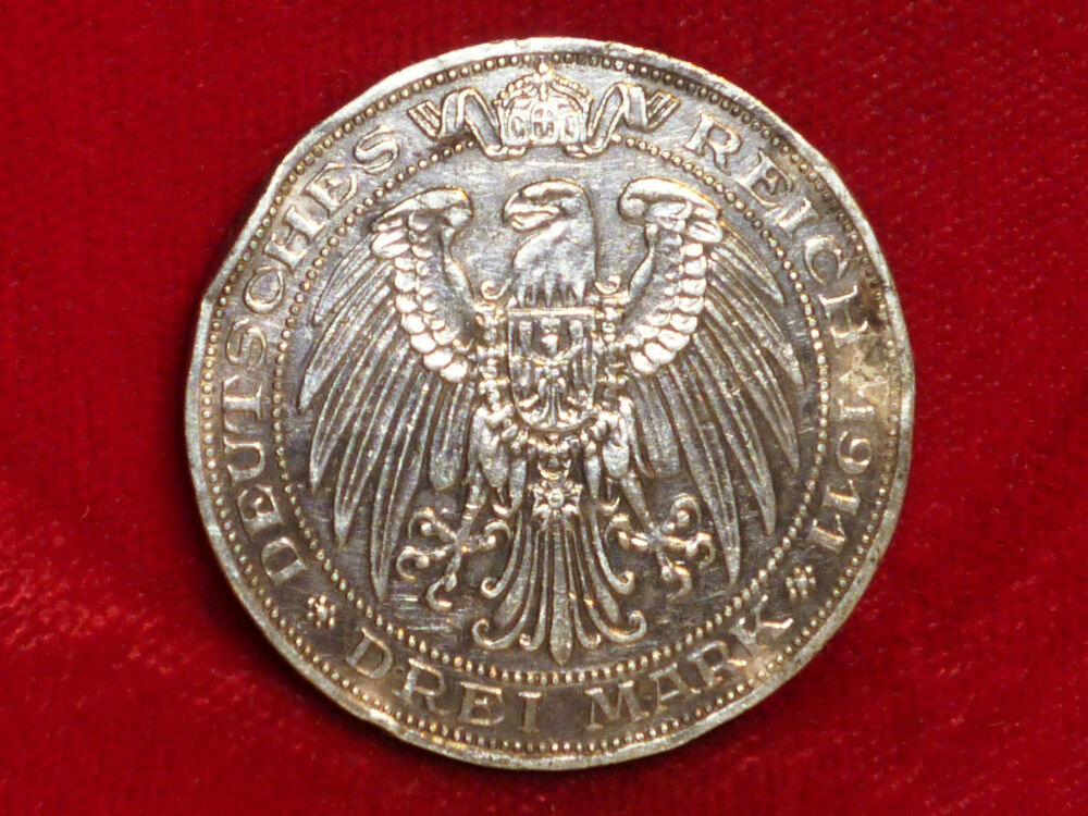 1911 Germany DREI MARK Beautiful Silver Coin