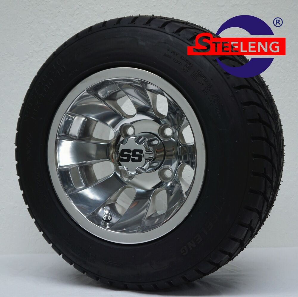 """Low Profile Tires >> GOLF CART 10"""" POLISHED SILVER BULLET WHEELS and 205/50-10"""