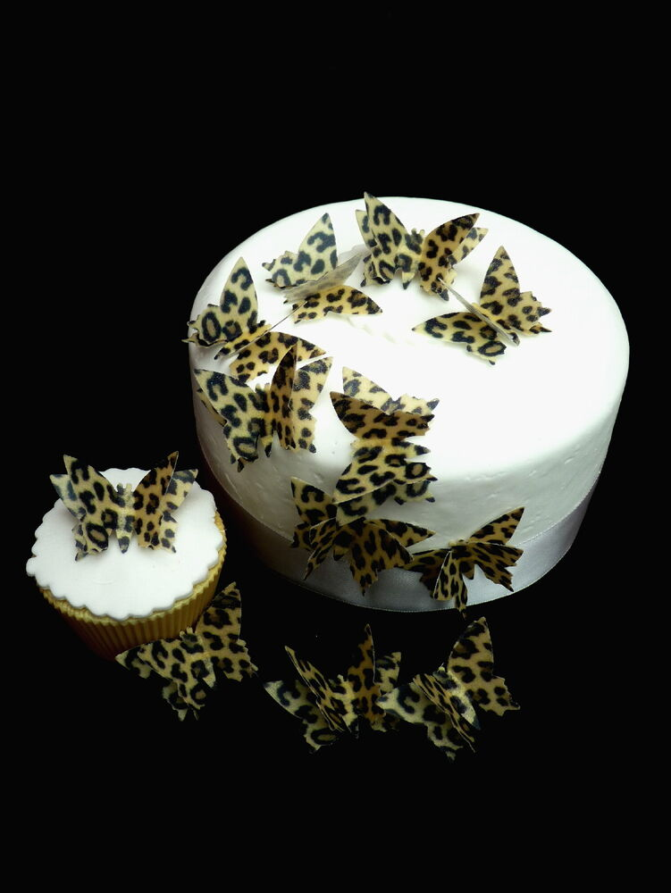 12 x double leopard print 3d butterflies edible rice paper for Animal print edible cake decoration