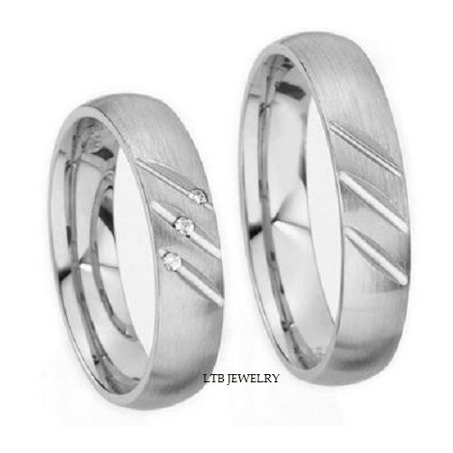Matching Bands: 18K WHITE GOLD MATCHING HIS & HERS WEDDING BANDS RINGS