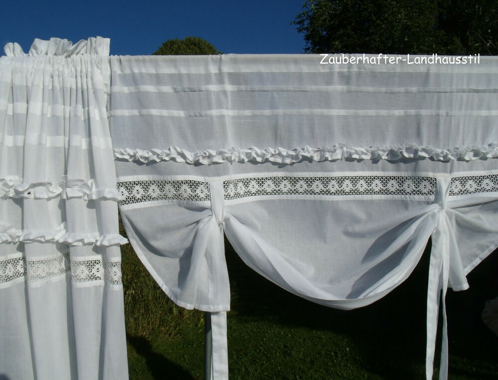 julie raff gardine rollo wei 100 120 140 160 breit shabby chic vintage curtain ebay. Black Bedroom Furniture Sets. Home Design Ideas