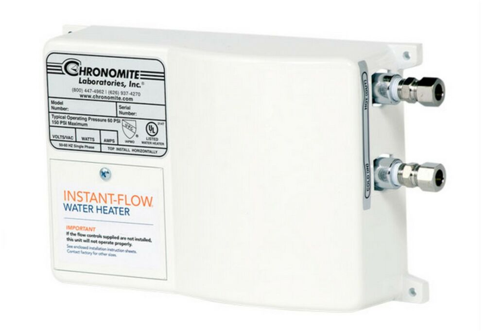 Chronomite Instant 240 Tankless Hot Water Heater  20 Amp  240 Volt