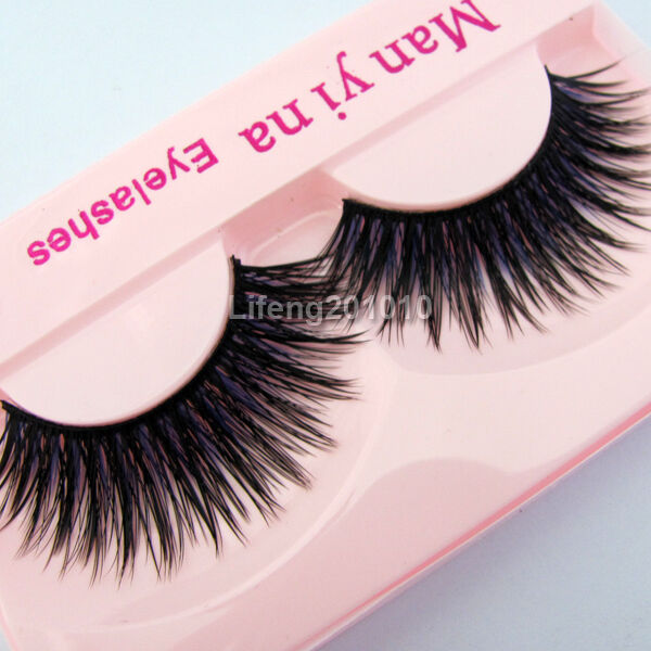 5 Pairs Makeup Thick Long Purple False Eyelashes Soft Fake Eye Lash
