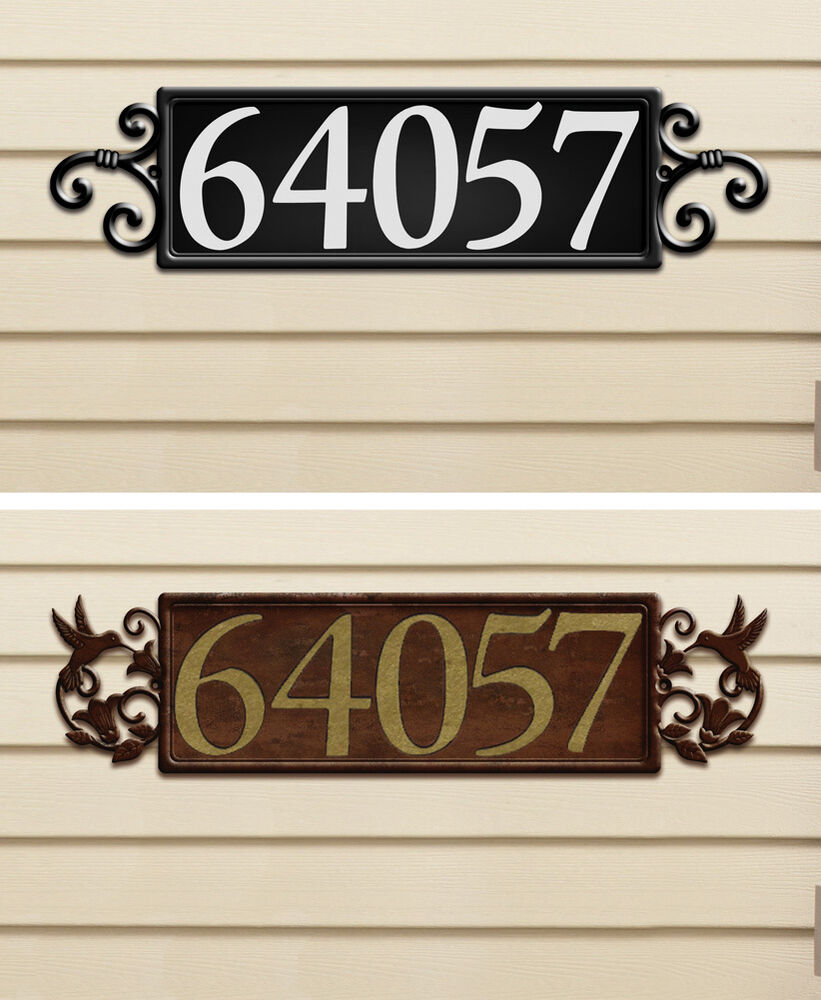 Horizontal Hummingbird Srollwork Magnetic House Address Number Plaque Sign Ebay