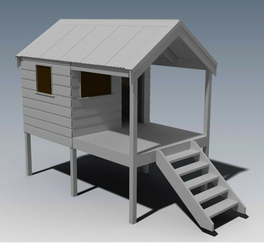 Cubby house play house build one with your children for Build my house plans