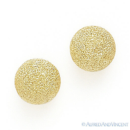 14k Solid Yellow Gold Stud Earrings 14kt 14 Kt Satin