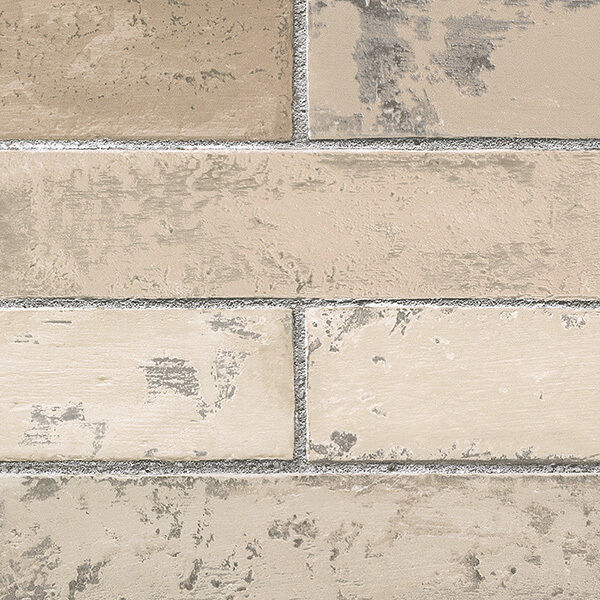 Brick Wallpaper Light Textured Grey Grout Stone Wall