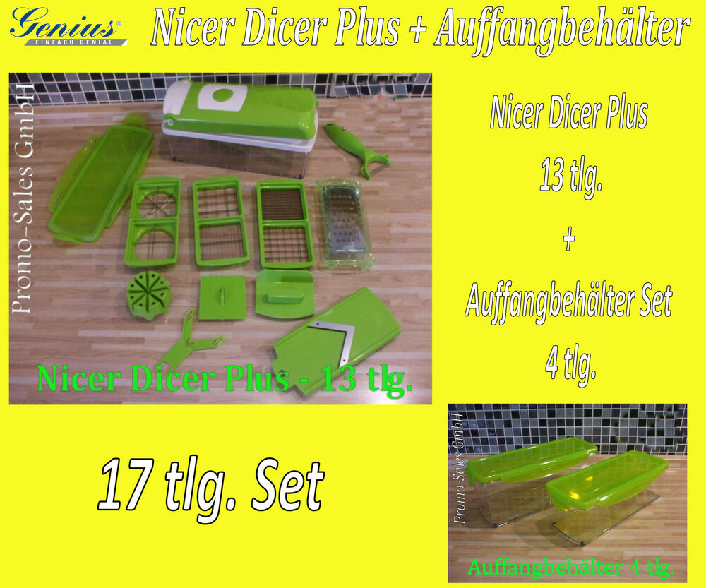 genius nicer dicer plus auffangbeh lter set 17 tlg bekannt aus tv ebay. Black Bedroom Furniture Sets. Home Design Ideas