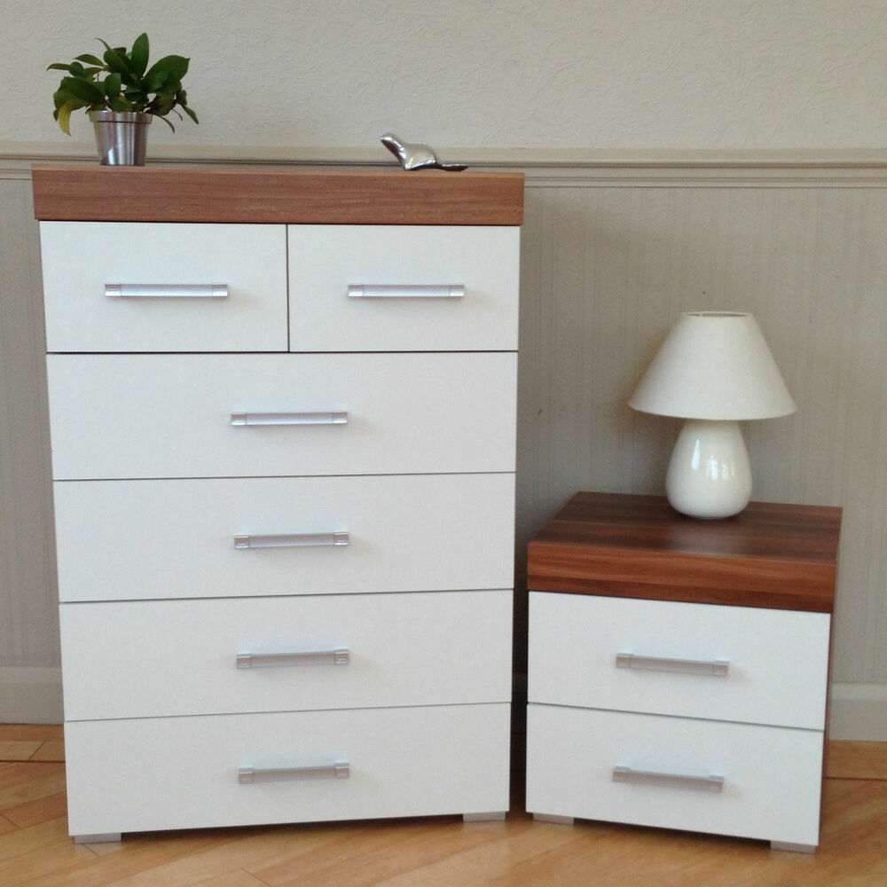 Cabinet Bedroom Furniture: White & Walnut 4+2 Drawer Chest & 2 Drawer Bedside Cabinet