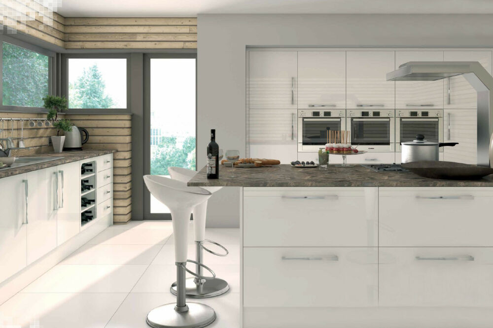 High gloss white kitchen cabinet cornice pelmet vinyl for White high gloss kitchen wall units