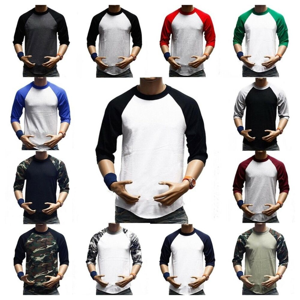 3/4 Sleeve Plain T-Shirt Lot Baseball Raglan Jersey Sports Fashion ...