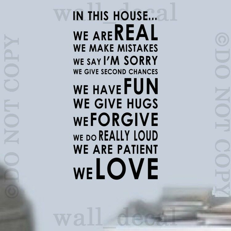 In This House Rules We Love Wall Vinyl Decal Decor Words ...