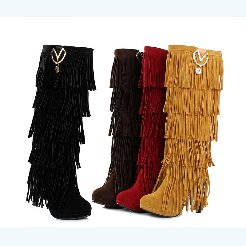 womens fringe boots high fashion slouch high heel boot